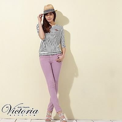 Victoria 中腰剪接後染窄管色褲-女-紫色