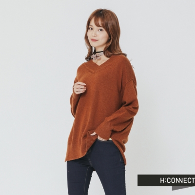 H:CONNECT 韓國品牌 女裝 -側開岔V領針織上衣-棕(快)