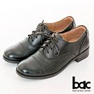 【bac】復古風潮英倫率性壓紋綁帶牛津鞋-黑