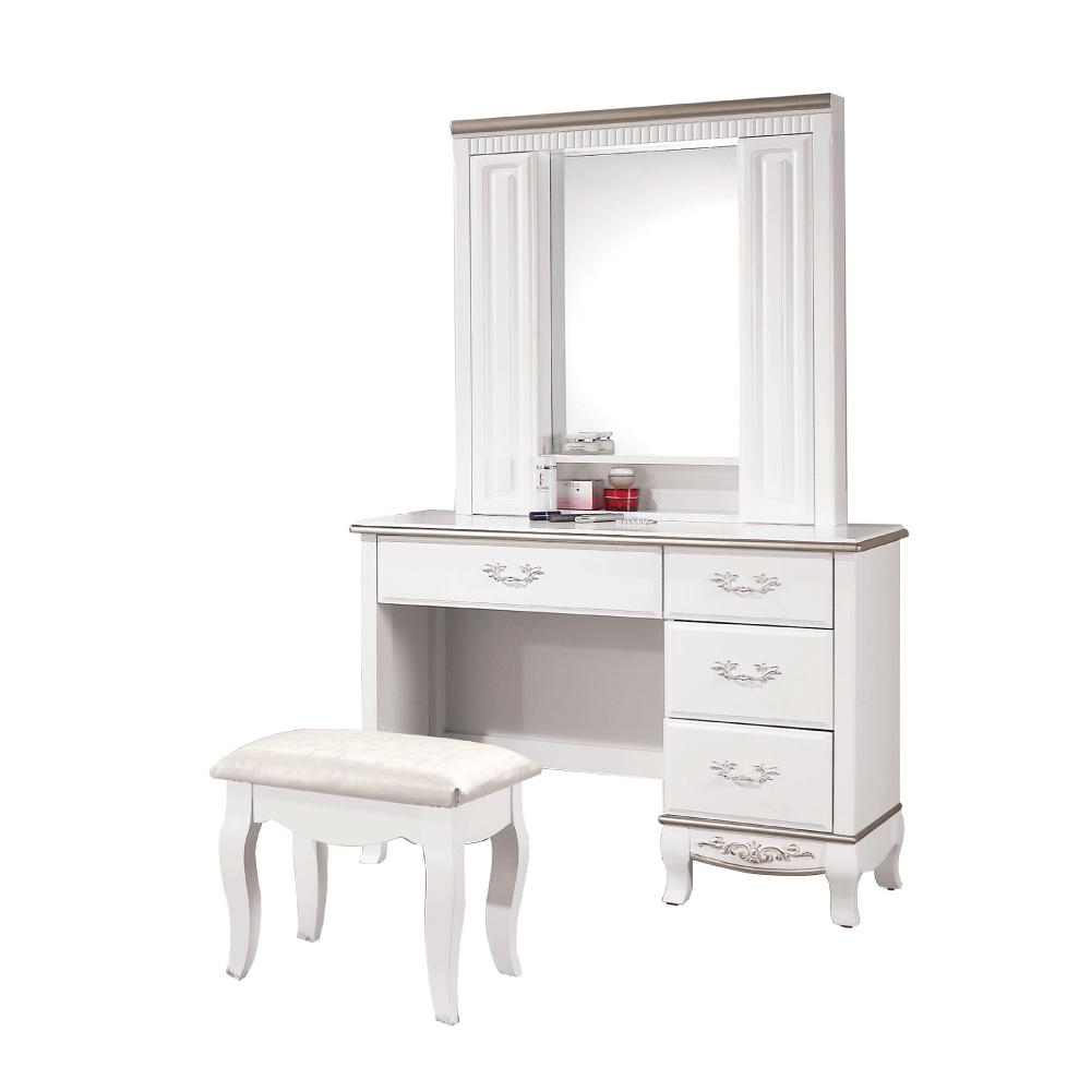 文創集 碧琳達3.5尺直立式鏡面化妝台/鏡台(含化妝椅)-104x44.5x167cm免組