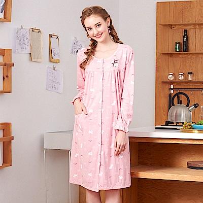 睡衣 貴賓小狗 針織棉長袖連身睡衣(R75209-7粉色) 蕾妮塔塔