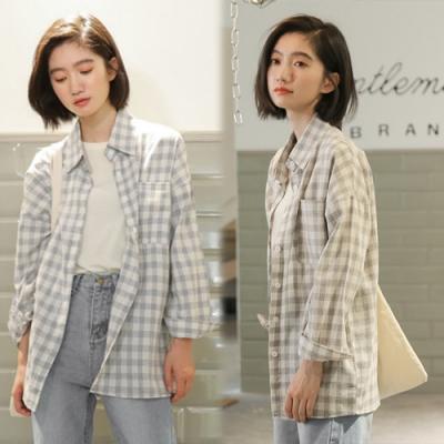 【韓國K.W.】(預購)典藏氣質品味格紋襯衫外套-1色