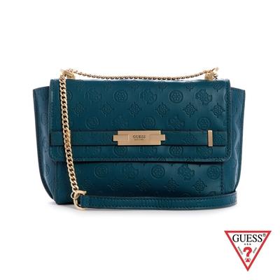 GUESS-女包-壓紋金屬LOGO鍊條斜背包-藍綠 原價3090