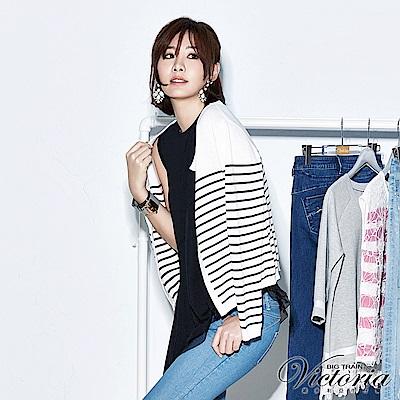 Victoria 條紋長袖線衫-女-黑白條