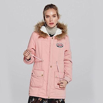 【KISSDIAMOND】超保暖收腰羊羔絨長版連帽外套粉色