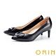 ORIN 造型金屬釦環尖頭羊皮 女 高跟鞋 黑色 product thumbnail 1