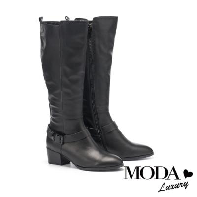 長靴 MODA Luxury 帥氣時髦方釦條帶牛皮粗高跟長靴-黑