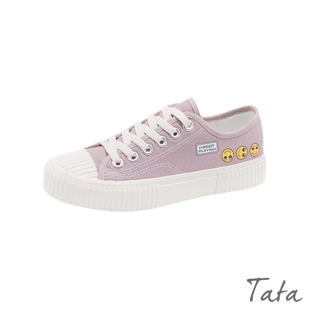 笑臉印花素色帆布鞋 共二色 TATA