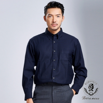 BARONECE 百諾禮士 低調奢華雙色襯衫_黑藍(618408-10)