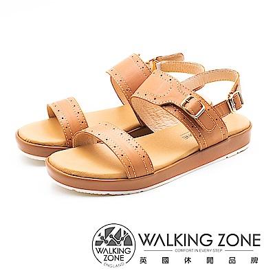 WALKING ZONE 真皮雙帶釦飾後跟套腳涼鞋 女鞋 - 棕(另有藍)