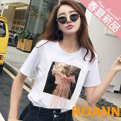 圓領拼接蝴蝶結短袖T恤 (共四色)-ROANN