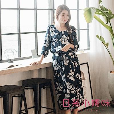 日系小媽咪孕婦裝-韓製孕婦裝~滿版渲染花朵腰抽繩棉麻長洋裝