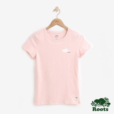 ROOTS女裝   海狸厚棉短袖T恤 -粉