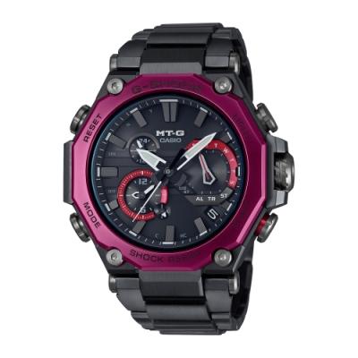 CASIO卡西歐 G-SHOCK 電波 藍牙 太陽能電力 碳纖維核心防護 多邊形錶圈 黑x紅 MTG-B2000BD-1A4_51mm