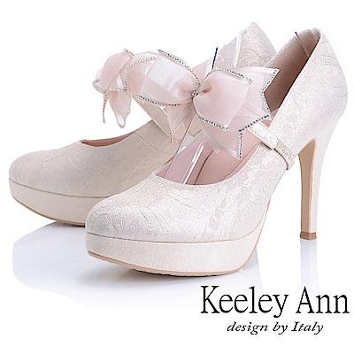 Keeley Ann 優雅迷人~可拆式網紗蝴蝶結腳背帶高跟鞋(淺金色)