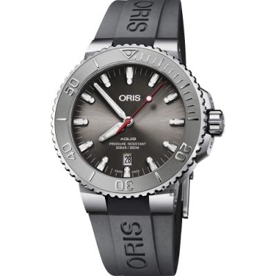 ORIS 豪利時 Aquis Relief 日期潛水機械錶-灰x灰色錶帶/43.5mm