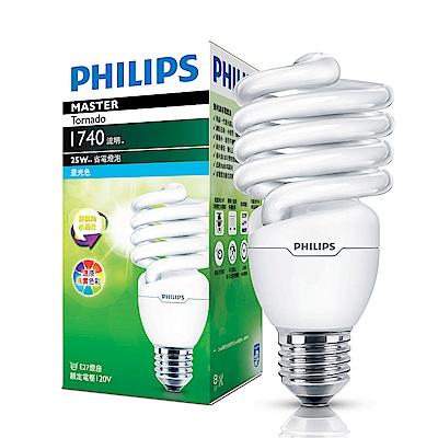 6入組【飛利浦 PHILIPS】25W E27 螺旋省電燈泡-白光