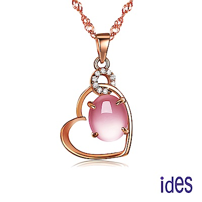ides愛蒂思 歐美設計彩寶系列芙蓉石項鍊/相思(玫瑰金色)