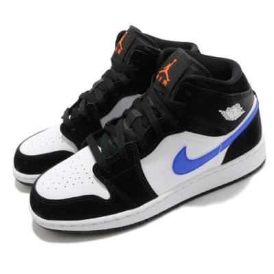 Nike 休閒鞋 Air Jordan 1 Mid 運動 女鞋 經典款 喬丹一代 皮葛 簡約 大童 穿搭 黑 藍 554725084