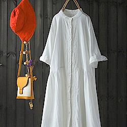 中長版小立領純棉白襯衫裙中袖襯衣開衫上衣-設計所在