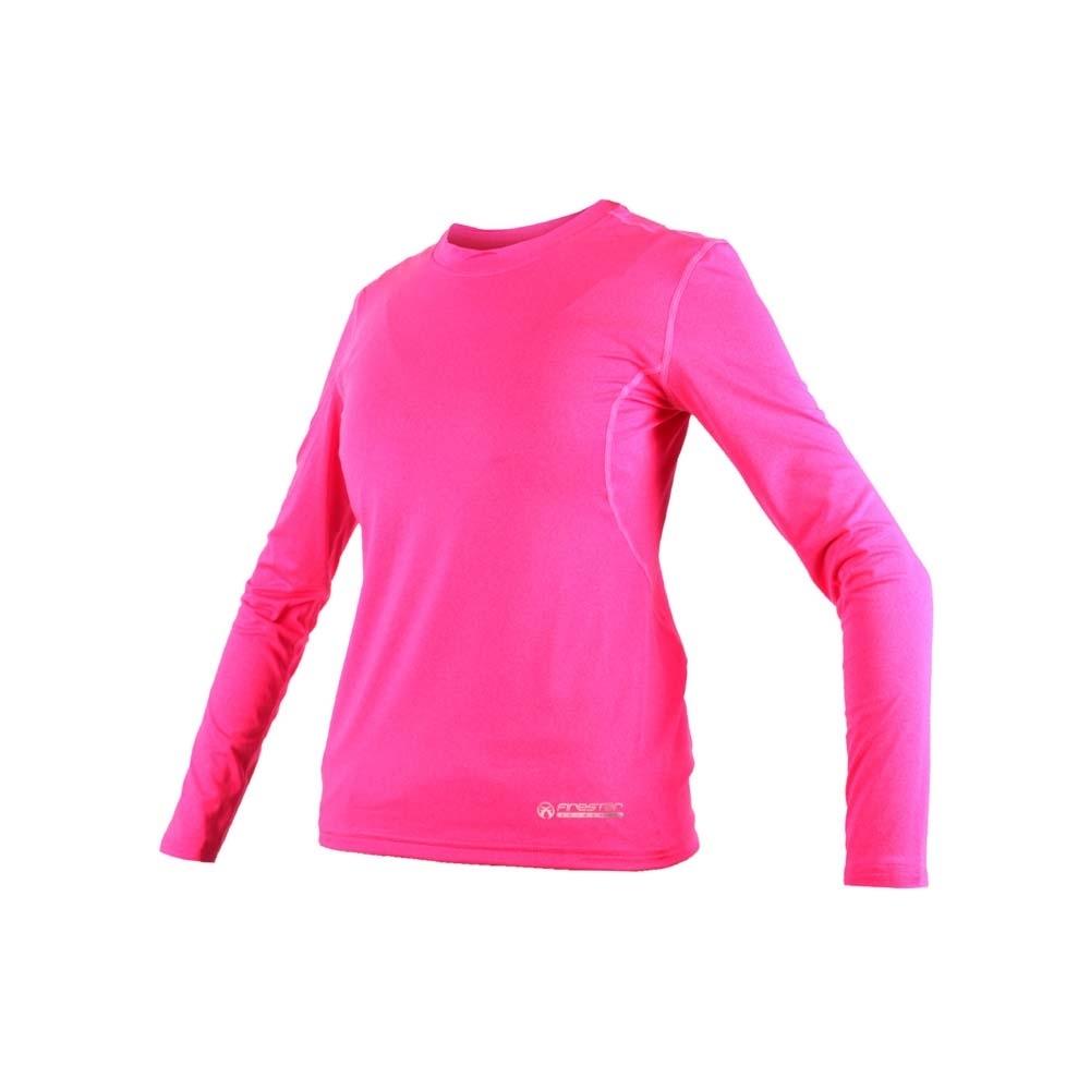 FIRESTAR 女機能緊身長袖-T恤 長T 健身 瑜珈 螢光粉