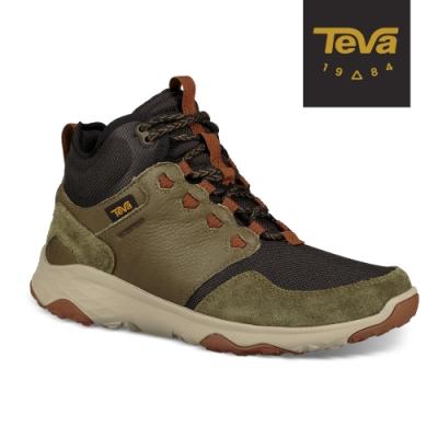 【TEVA】原廠貨 男 Arrowood Venture Mid WP 中筒防水牛皮機能休閒鞋/登山鞋(橄欖綠-TV1106132DOL)