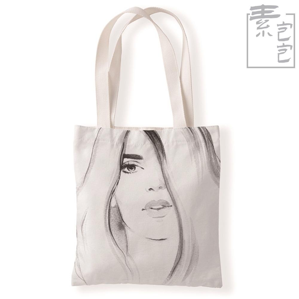 【素包包】烈焰紅唇素描風單面印花學生側背袋(8色任選) product image 1