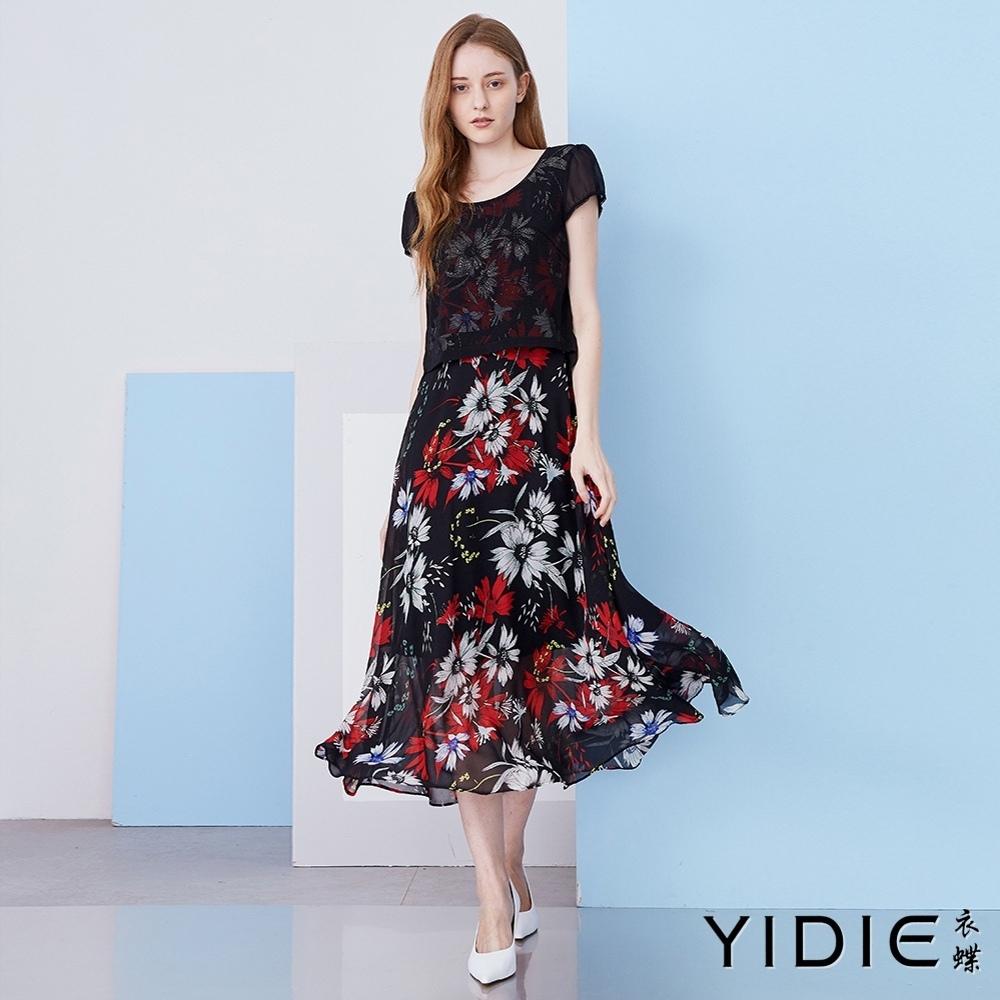【YIDIE衣蝶】網紗假兩件拼接雪紡長洋裝