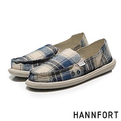 HANNFORT COZY毛呢格紋氣墊懶人鞋-女-格紋藍