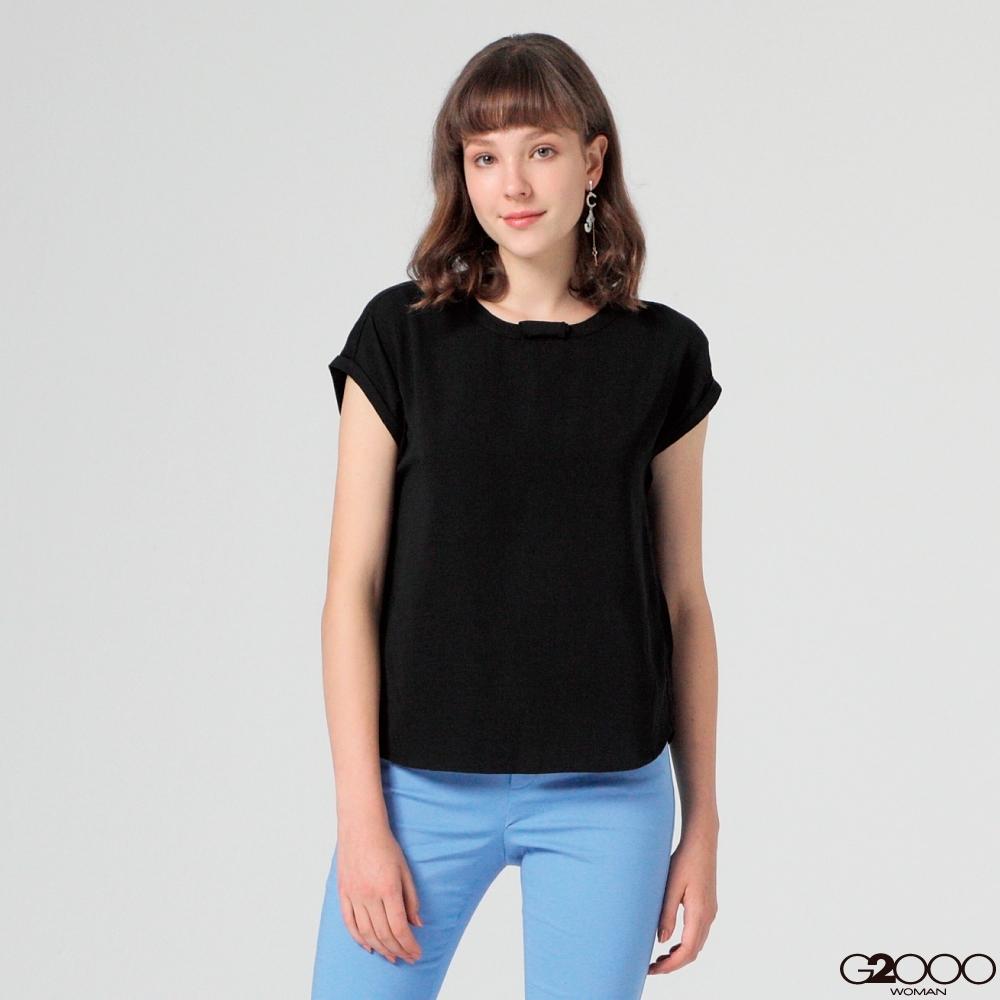 G2000素面短袖休閒上衣-黑色