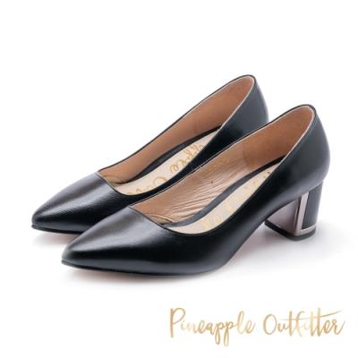 Pineapple Outfitter-PIPER 真皮尖頭金屬粗跟鞋-黑色