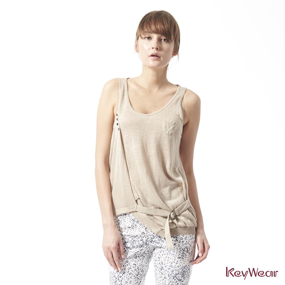 KeyWear奇威名品    100%亞麻多重造型穿搭無袖背心-卡其色