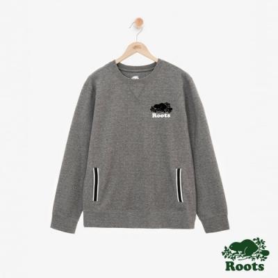男裝ROOTS 平織緞帶圓領上衣-灰色