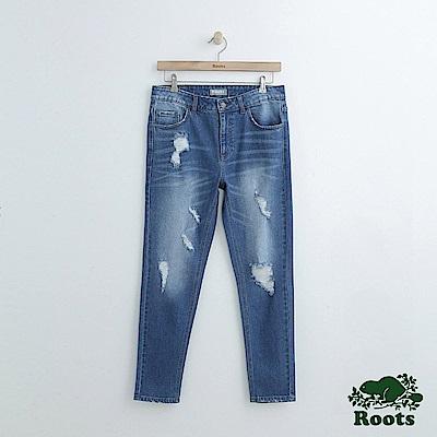男裝Roots-DENIM-合身刷破牛仔長褲-藍