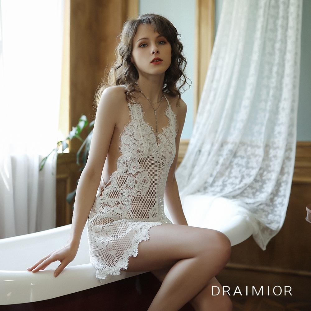 性感睡衣 DRAIMIOR立體雕花蕾絲鏤空吊帶睡裙。白色 久慕雅黛