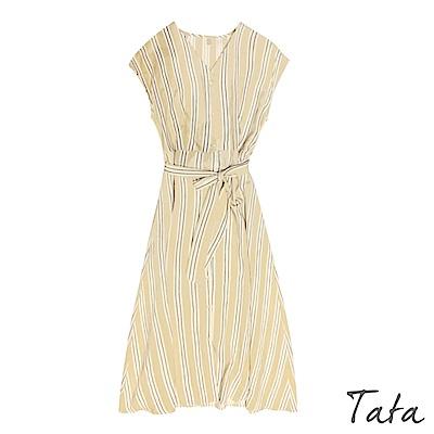 V領排扣撞色條紋洋裝(附腰帶) TATA