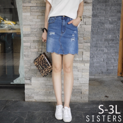 穿出好比例!破損風格牛仔褲裙(S-3L) SISTERS