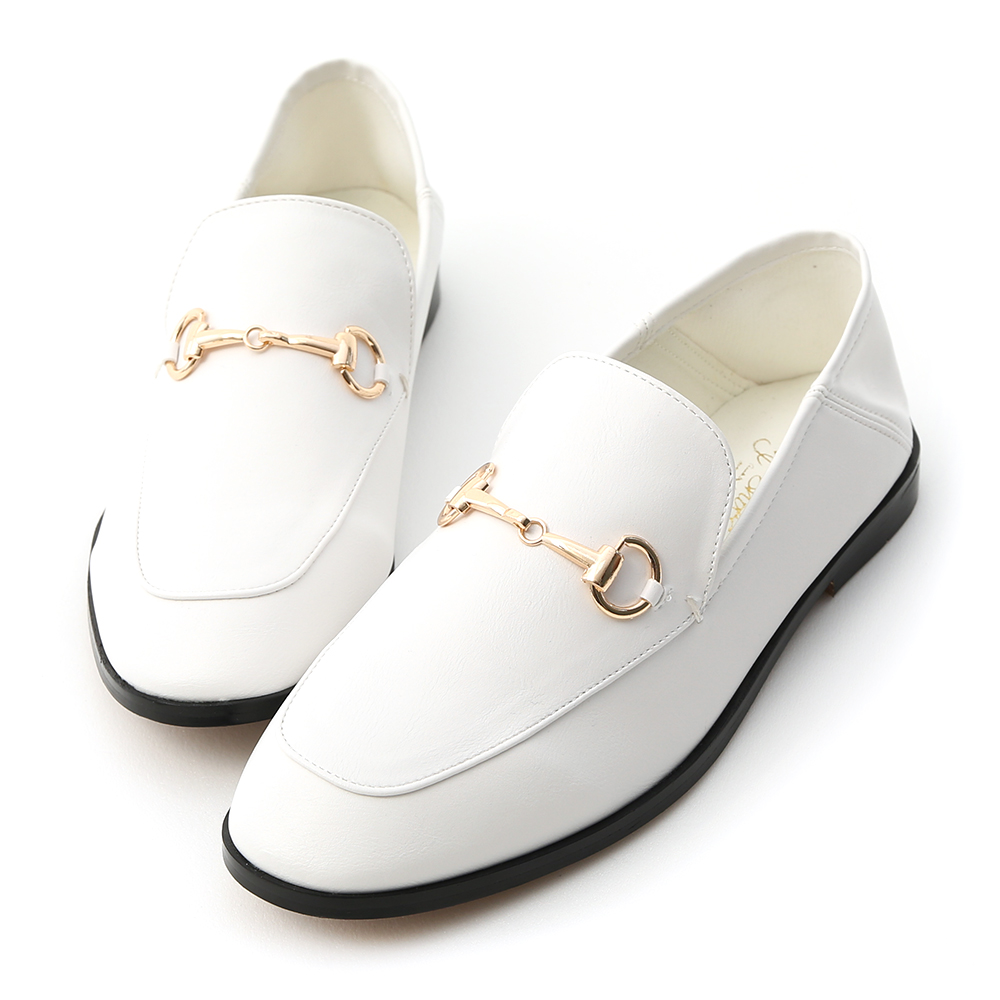 D+AF 上質品味.馬銜釦後踩式二穿紳士便鞋*白