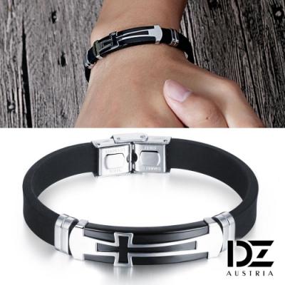 DZ 個性長十字 316L白鋼矽膠手環(黑底系)