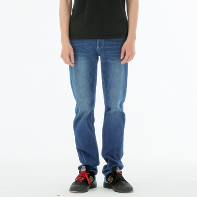 BIG TRAIN 中腰高彈針織丹寧小直筒褲-男-深藍
