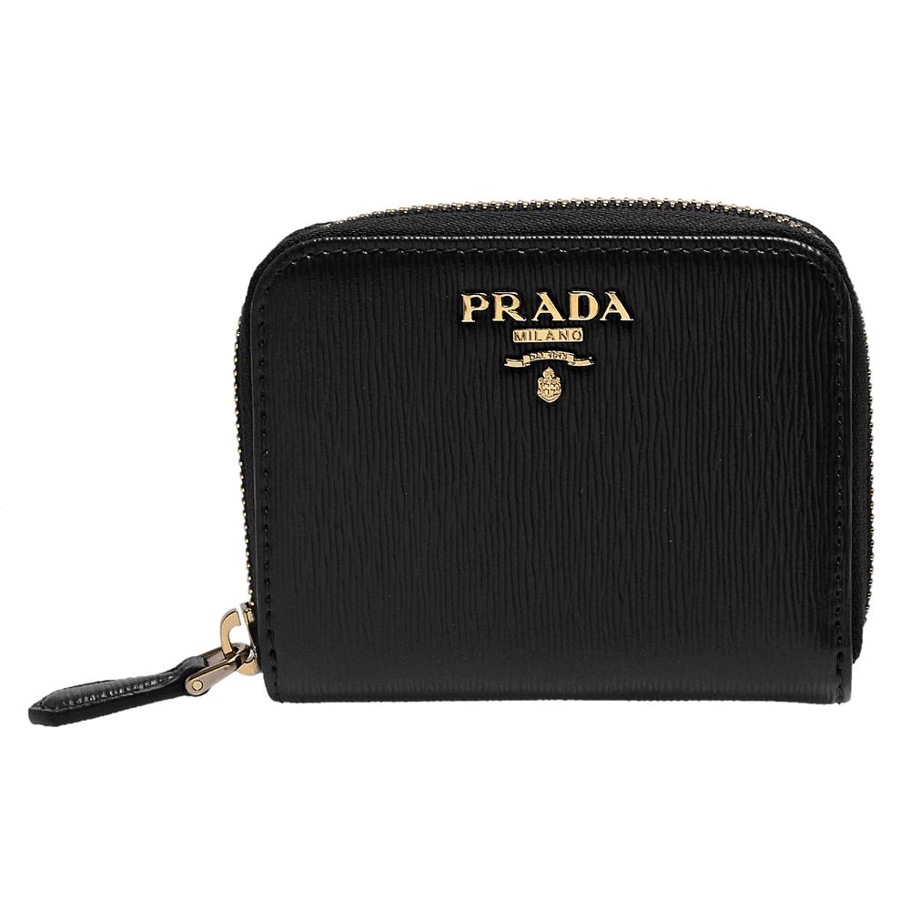 PRADA 經典金色浮雕LOGO直紋牛皮拉鍊卡夾/零錢包(黑)