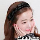 AnnaSofia 黑紗緞帶層結 韓式髮箍(黑緞帶系)