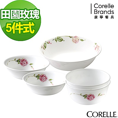 CORELLE康寧 田園玫瑰5件式餐碗組(503)