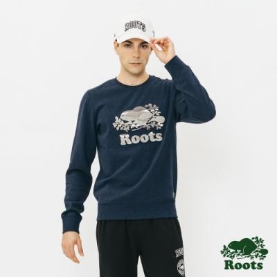 男裝Roots 藍斯蓋普刷毛圓領上衣-藍