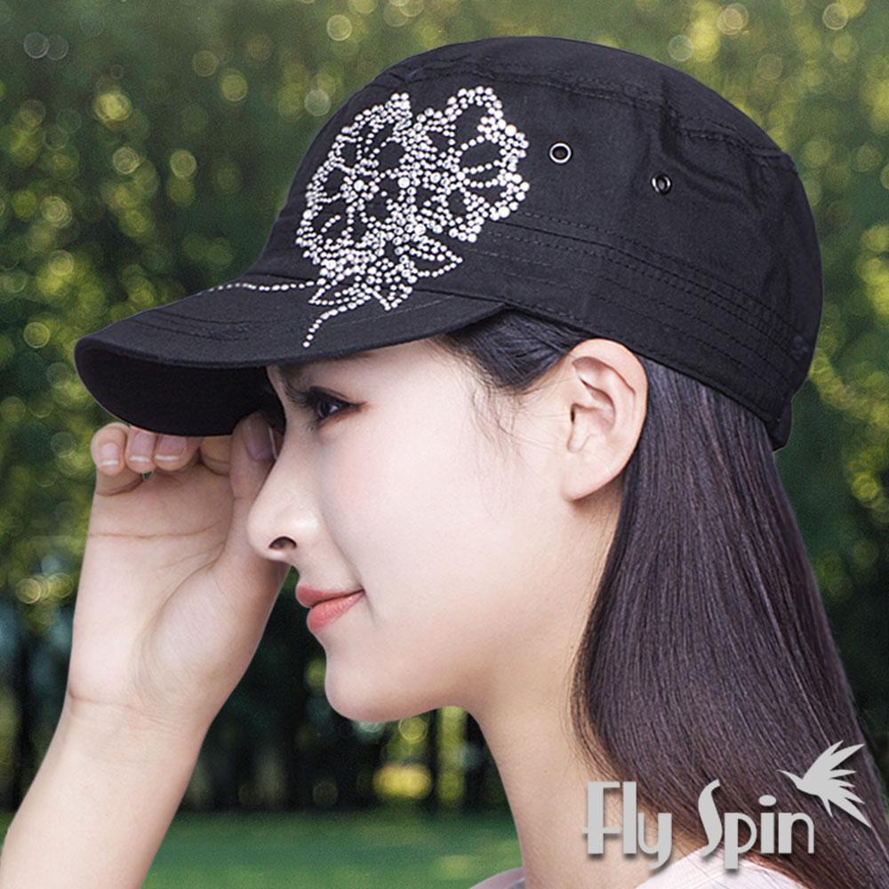 FLYSPIN 遮陽新潮花朵燙鑽軍人帽