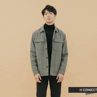 H:CONNECT 韓國品牌 男裝-格紋排扣雙口袋外套-綠