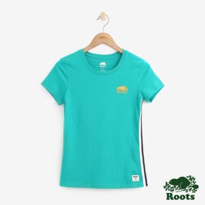 女裝ROOTS- 飾邊燙金LOGO短袖T恤-綠色