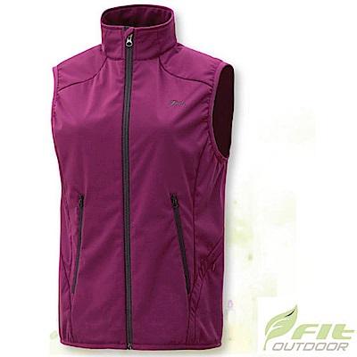 FIT 女 Softshell抗風保暖背心_EW2401 紫紅色 V