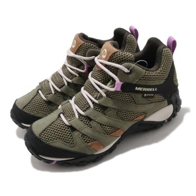 Merrell 戶外鞋 Alverstone Mid GTX 女鞋 登山 越野 耐磨 防水 抗菌防臭 避震 綠 黑 ML035710