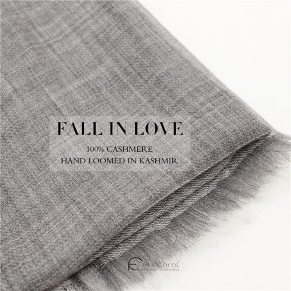 【F.M&Carol】流年系列- 100%純喀什米爾羊絨披肩(淺雅灰)